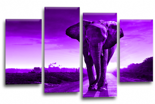 Sunset African Elephant Purple Grey Canvas Wall Art Picture Print